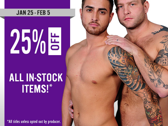 25% off all gay streaming porn videos and movies.