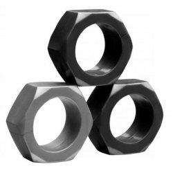 Tom of Finland Hex Nut Cock Ring Set - Set of 3 image