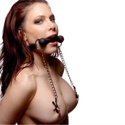 Silicone Bit Gag With Nipple Clamps Image