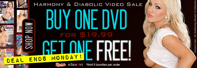 Buy one, get one on Diabolic & Harmony DVD porn movies.